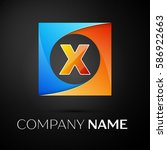 letter x logo symbol in the...   Shutterstock . vector #586922663