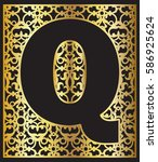 stylized black letter q with... | Shutterstock .eps vector #586925624