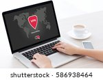 woman holding notebook with app ... | Shutterstock . vector #586938464