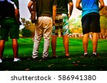 people stand on grass looking...   Shutterstock . vector #586941380