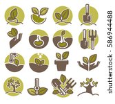green horticulture  planting or ... | Shutterstock .eps vector #586944488