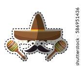 sticker colorful cartoon face... | Shutterstock .eps vector #586951436