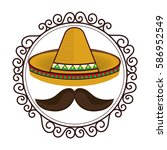 vintage border with hat and... | Shutterstock .eps vector #586952549