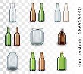 glass bottles icons detailed... | Shutterstock .eps vector #586959440