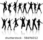 collection of people dancing | Shutterstock .eps vector #58696012