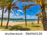 beautiful beach scenery with... | Shutterstock . vector #586960130