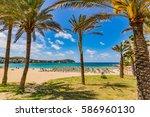 beautiful beach scenery with... | Shutterstock . vector #586960130