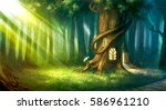 magical fantasy fairy tale... | Shutterstock . vector #586961210