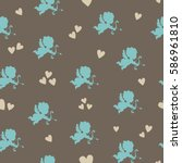 seamless color pattern with... | Shutterstock .eps vector #586961810