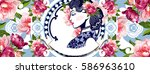 vector blue and white chinese... | Shutterstock .eps vector #586963610