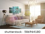 interior with sofa. 3d... | Shutterstock . vector #586964180