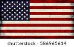 grunge vintage usa flag... | Shutterstock . vector #586965614