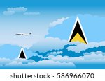 clouds with saint lucia flags ... | Shutterstock .eps vector #586966070