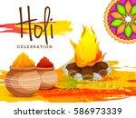 happy holi celebration poster... | Shutterstock .eps vector #586973339