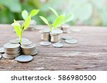 coins growth to profit concept... | Shutterstock . vector #586980500