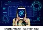 jigsaw puzzle teamwork... | Shutterstock . vector #586984580