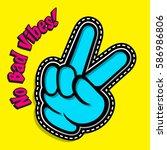victory gesture. hand victory... | Shutterstock .eps vector #586986806