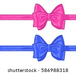 pink and blue hand drawn bows... | Shutterstock .eps vector #586988318