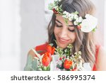 Beautiful Girl With Flowers An...
