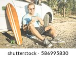 young hipster fashion guy... | Shutterstock . vector #586995830
