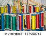 textile machinery close up view | Shutterstock . vector #587000768