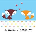 cute fox doodle couple in love