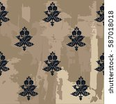 seamless vintage pattern with... | Shutterstock .eps vector #587018018