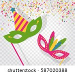 carnival masks and confetti... | Shutterstock .eps vector #587020388