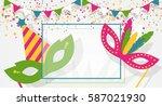 carnival masks  confetti ... | Shutterstock .eps vector #587021930