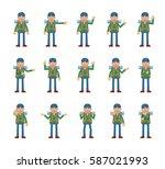 big set of mountaineer... | Shutterstock .eps vector #587021993