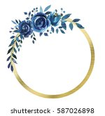 indigo blue and gold watercolor ... | Shutterstock . vector #587026898