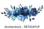 Indigo Blue  Watercolor Floral...