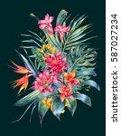 watercolor vintage floral... | Shutterstock . vector #587027234