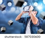 visual reality concept.young... | Shutterstock . vector #587030600