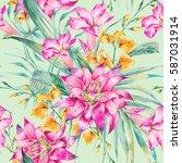watercolor vintage floral...   Shutterstock . vector #587031914