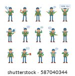 big set of mountaineer... | Shutterstock .eps vector #587040344