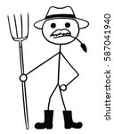 Cartoon Vector Stickman Farmer...