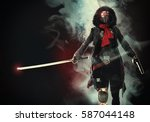 the woman a cyborg with a sword ... | Shutterstock . vector #587044148