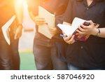 apprentice taking notes from... | Shutterstock . vector #587046920