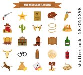set of wild west theme color... | Shutterstock .eps vector #587055398