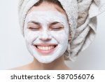 beautiful woman after shower... | Shutterstock . vector #587056076