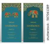 indian invitation card... | Shutterstock .eps vector #587061389