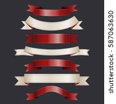 set of red and white ribbons on ... | Shutterstock .eps vector #587063630