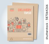 moving and delivery template... | Shutterstock .eps vector #587064266