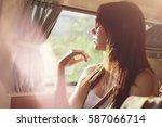 portrait of beautiful girl... | Shutterstock . vector #587066714