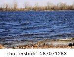 river stones in forest river...   Shutterstock . vector #587071283