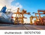 container container ship in... | Shutterstock . vector #587074700