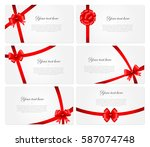 set of 6 beautiful cards with... | Shutterstock .eps vector #587074748