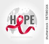 world cancer awareness ribbon... | Shutterstock .eps vector #587080166