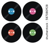 vector set of music retro vinyl ... | Shutterstock .eps vector #587080928